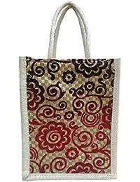 Madhura Vaishnavi Traders Red & Black Color Eco Friendly Jute Shopping Bag