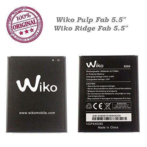 ORIGINAL Batterie Wiko type 5260 2820mAh 10,716Wh 3,8V pour Wiko Ridge FAB 4G et Wiko PULP FAB 4G