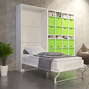 smartbett schrankbett 90x200 cm vertikal weiss farbauswahl bettschank wandbett klappbett. Black Bedroom Furniture Sets. Home Design Ideas
