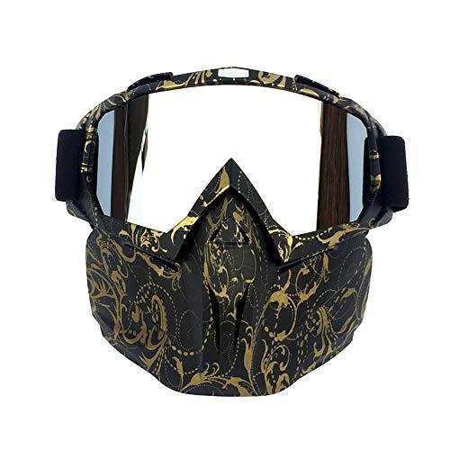 CXJ Motocross-Brille Motorradbrillen PU-Harz Winddicht Staubdicht Dirt Bike Goggles Wickeln Sie Reitbrillen Schützende Sicherheit Off Road Goggles,Copper-Stripe -