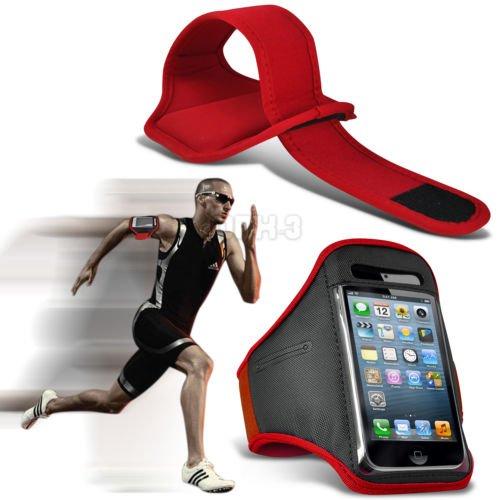 Fonecase HTC One M8 Sport Armbänder mit dem Fahrrad Radfahren Fitnessstudio Joggen abzugewöhnen Armband Case Cover Rot (Htc One M8 Armband Geldbörse)