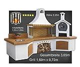 Grilltechnik-Gustoso Bergisch Gladbach Steingrill Grillkamin mit Backofen Waschbecken braun Luxus Theofanes