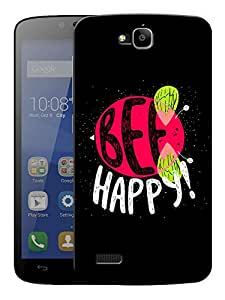 """Humor Gang Be Happy Bee Quote Printed Designer Mobile Back Cover For """"Huawei Honor Holly"""" (3D, Matte Finish, Premium Quality, Protective Snap On Slim Hard Phone Case, Multi Color)"""