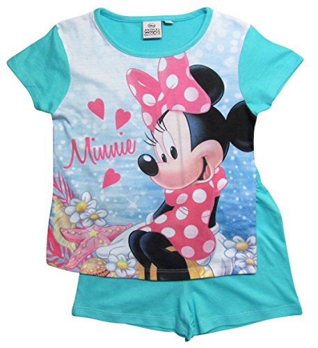 Minnie Mouse 2017 Schlafanzug Shorty 92 98 104 110 116 122 128 Mädchen Shortie Disney Pyjama Kurz Neu Maus (110 - 116, Türkis)