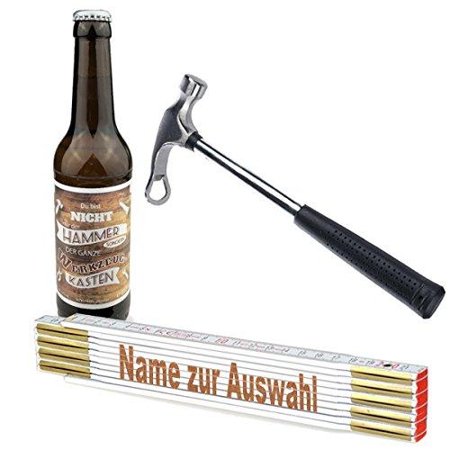 3-teiliges Geschenkset/Zollstock mit Namens-Gravur, Handwerker-Bier und Flaschenöffner,Hammer'/ Echte Kerle/Männergeschenk/Handwerker/Vatertag/Geburtstag, Zollstöcke Namen:Werner