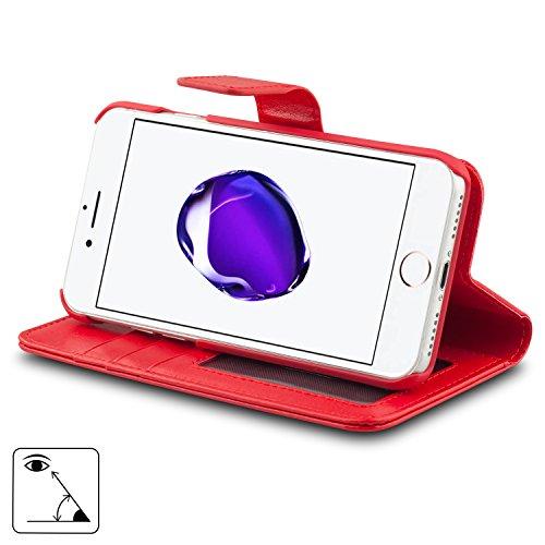 AMOVO iPhone 7 Ledertasche, iPhone 7 Leder Schutzhülle [Abnehmbare Brieftasche] [2 in 1] Lederhülle pour iPhone 7 mit Geschenk-Paket (iPhone 7, Coral Pink) Rouge
