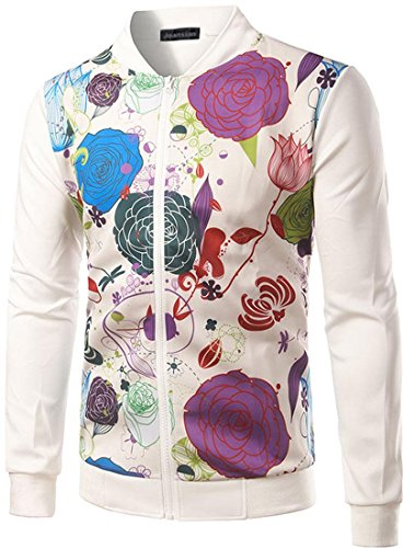 jeansian Herren Casual Flowers Printing Stand-Up Collar Zipper Bomber Jacket Coat Outwear 9538 White