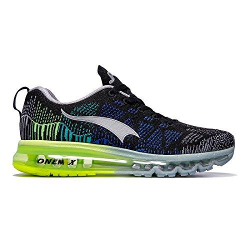 ONEMIX Air Scarpe da Ginnastica Corsa Basse Uomo Sportive Running Sneaker Nero Verde Grigio