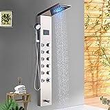 Suguword Duschpaneel Duschset Edelstahl Massagendüsen 5 in 1 Multifunktion Duschsystem LED Anzeige Handbrause Regendusche Edelstahl