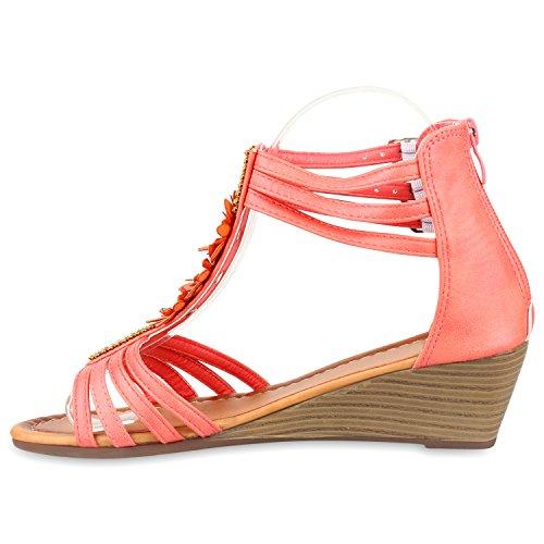 Bequeme Damen Keilsandaletten Strass Sandaletten Keilabsatz Coral Schnallen