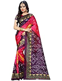 Zypara Women's Cotton Silk Saree (Bandhani_ Yellow &Amp; Purple_Yellow)