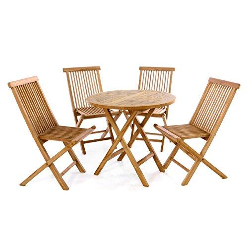 Divero Gartenmöbelset Sitzgruppe Teakholz Tisch Ø 80 cm