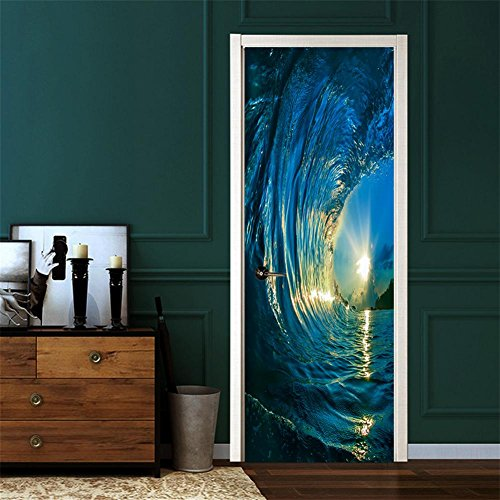 Bizhi adesivi per porte stereo 3d adesivi per porte creative tramonto al tramonto adesivi - Adesivi decorativi per porte ...