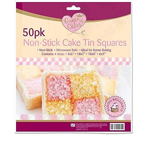 . 00anti-adhésif à gâteau carrés/5,1cm Lot de 50