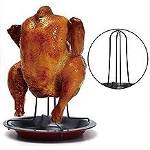 Asador de pollo vertical con base antiadherente recoge salsa para barbacoas hornos, asados leña en