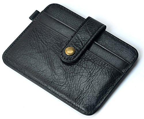URAQT Männer Geldbörse, Echtes Leder Portable Front Tasche Brieftasche, Kreditkartenetui mit Gürtelschnalle (Schokolade) schwarz
