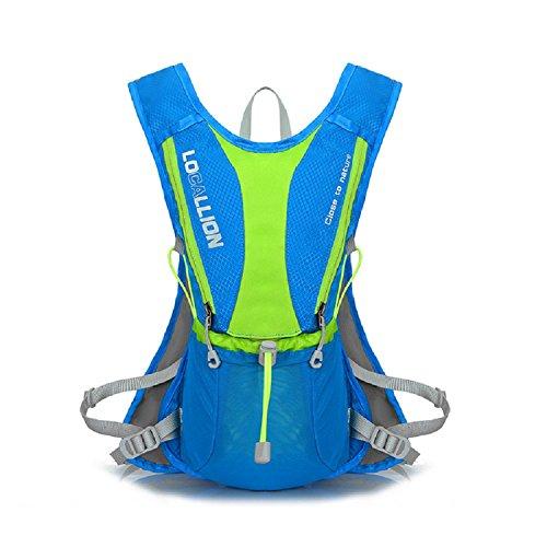 XJoel Draußen Mochilas-Spur Marathonlauflauf Rennen-Hydratation-Weste-Trinkrucksack-Rucksack mit 2 Wasser-Flaschen Blau
