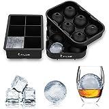 FYLINA Ghiaccio Set di 2 Stampo in Silicone 6 Ice Ball 6 Cube 100% Senza BPA e FDA Approvato per alcolici Cocktails Bevande Birra Whiskey,Nero, 2, 2