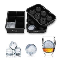 Idea Regalo - Stampo per Cubetti di Ghiaccio in Silicone,6 Cubetti Vaschette Ice Ball per Sfere di Ghiaccio Ideali 4.5cm per Alcolici,Whisky,Cocktail,Drink,Candy Budino,Latte Succo - Set da 2