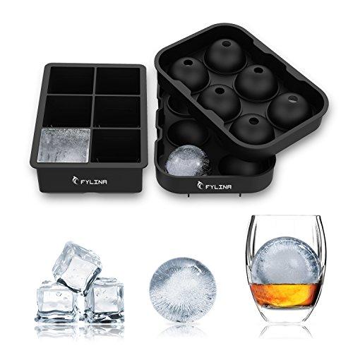 Eiswürfelform 48mm Eiskugelform 45mm 6-Fach Eiswürfelbehälter 2 Sätze Würfel Eiswürfel Form Silikon, Ohne BPA, Big Size Ice Ball, für Kinder Pudding Milch Saft, für Erwachsene Bier Cocktails Whisky