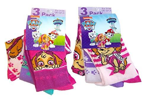 Nickelodeon Paw Patrol Hunde Skye und Everest Socken für Kinder, Mädchen, 6 Paar Strümpfe verschiedene Motive und den Farben rosa, pink, lila (31/34) (Nickelodeon Mädchen Unterwäsche)