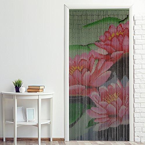 Power-Preise24 Bambus Türvorhang Nature 90 x 200 cm bunter Raumteiler mit 65 Strängen aus Bambus mit beidseitigem Naturmotiv Bambusvorhang zum Aufhängen, Motiv:Seerose