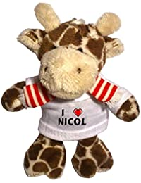 Jirafa de peluche (llavero) con Amo Nicol en la camiseta (nombre de pila/apellido/apodo)