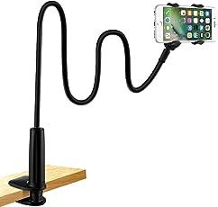LONZOTH Handyhalter, Handy Halterung Schwanenhals Halter Universal Ständer für iPhone Smartphone Handy Tablet 360° Drehen (Schwarz)