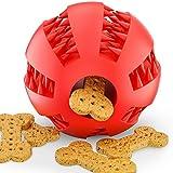 Hundeball – Dentalball von BELISY für besonders hohen Spiel-Spaß & perfekte Zahn-Pflege – Hunde-Spielzeug aus schadstofffreiem Naturkautschuk – Kau-Ball/ Kauspielzeug mit Leckerli-Loch – Hundespielball für große & kleine Hunde – auch für Welpen geeignet - Rot & Grün