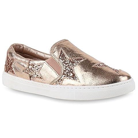 Damen Slipper Bequeme Slip-Ons Schleifen Fransen Pailletten Sneakers Kroko Sneaker Low Skater Flats Schuhe 129342 Rosa Gold 38 | Flandell®