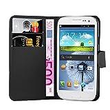 Cadorabo Hülle für Samsung Galaxy S3 Mini - Hülle in Phantom Schwarz – Handyhülle mit Kartenfach und Standfunktion - Case Cover Schutzhülle Etui Tasche Book Klapp Style