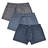 "Men's Luxury Bamboo Boxer Underwear Ultra Soft and Breathable Stripes Boxer Briefs 5 Pack (B: 3pk-no Fly, L (Waist 35"" - 37""))"