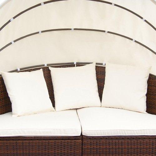 Miadomodo Hochwertige Polyrattan Ø 180 cm Sonneninsel Lounge Liege (Farbwahl) inkl. Kissen, Sitzauflage und Sonnendach (Braun) - 5