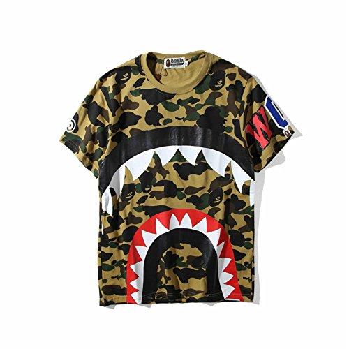 BOMOVO BAPE Baumwolle Drucken Camouflage Shark T-Shirt Braun