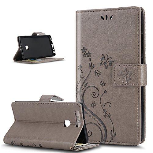 Huawei P9 Lite, P9 Huawei Lite, ikasus, motivo: floreale con farfalle, con aletta, in pelle sintetica in PU a portafoglio-Custodia a portafoglio in pelle con funzione di supporto e porta carte di cred Piccola Farfalla:Grigio