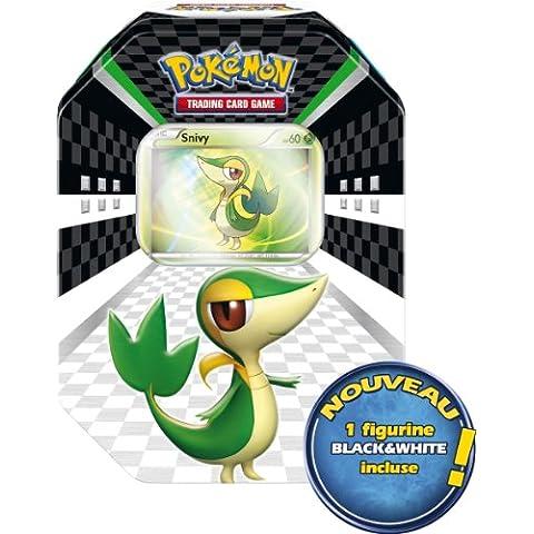 Asmodee pob17–Juego de cartas y de Edimburgo–Pokémon–Caja Metal Pascua 2011–4Boosters + 1figura + 5tarjetas Exclusives Black & White + 1tarjeta Promo–Caja verde