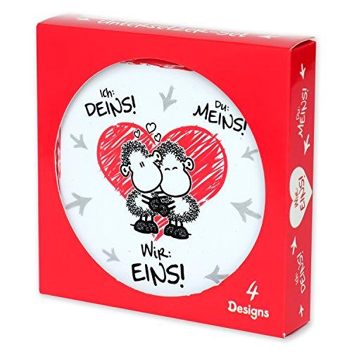 """Sheepworld 45191 Untersetzer-Set """"Ich: Deins! Du: Meins! Wir: Eins!"""", Geschenkset aus 4 Kork-Untersetzern in 3 verschiedenen Designs"""