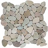 Natursteinmosaik Fliesen grau beige braun flusskiesel Wand Boden Dusche WC Küche | 10 Matten | Art: es-72323_f