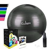 Anti-Burst Gymnastikball Sitzball Fitnessball 55cm inklusive Pumpe,300kg Maximalbelastbarkeit Pezziball Swissball Yogaball,Schwarz