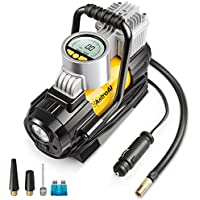 AstroAI Digital Tyre Inflator Pump, Portable Air Compressor 150 PSI 12V Electric with Extra Nozzle Valve Adaptors, LED Light And Fuse for Car Bike and Other Automobiles