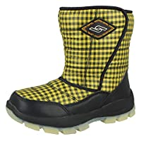 Kids Boys Girls Waterproof Warm Faux Fur Lined Thermal Wellington Gingham Winter Snow Boots Size UK 12.5-3