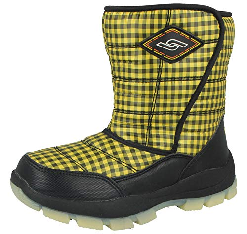 Yijiabao Kids Boys Girls Waterproof Warm Faux Fur Lined Thermal Wellington Gingham Winter Snow Boots Size UK 12.5-3