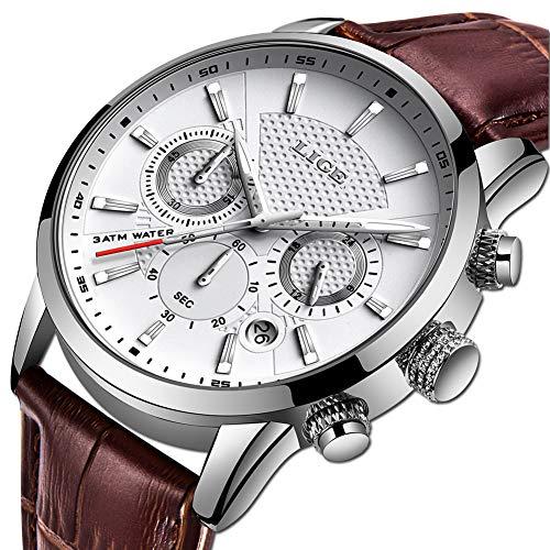 LIGE Herren Uhren Fashion Sport Wasserdicht Militäruhr Männer Multifunktions Chronograph Quarz Schwarz Armbanduhren Kalender mit Leder Armband