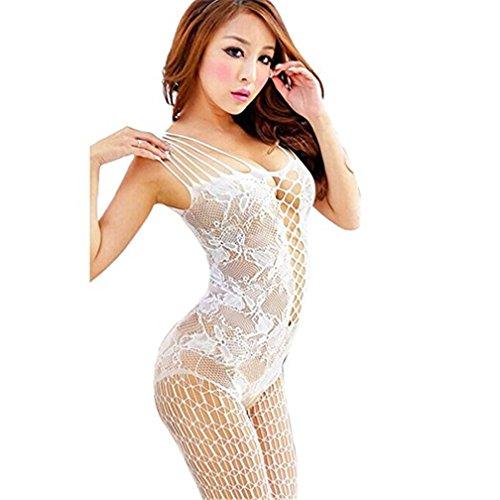 Fueerton Damen öffnen Schritt Mesh Fishernetz Körper Strumpf Mode Lace Nachtwäsche (Weiß)