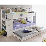 Hochbett weiß + Bettschubkasten + Lattenrostplatten + Regale + Leiterpodest Spielbett Kinderbett Kinderzimmer Doppelbett Stockbett Etagenbett