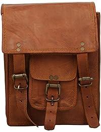 "Handcraft's ""Sean"" Handcrafted Brown Genuine Leather Plain/Solid Pattern Vintage DesignerSling Bag With Back Zipper..."