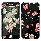 Coque pour iPhone 7, Coque iPhone 8 + Protecteur d'écran en verre trempé 9H, Motif floral ultra-fin TPU antichoc MANUKA pour Apple iPhone 7/8 - Camellia
