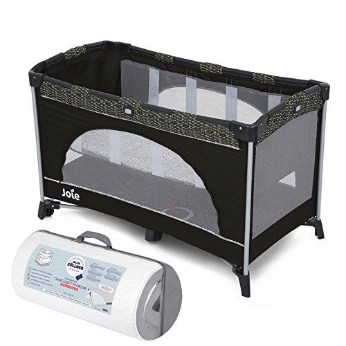 Joie Reisebett Allura 120 mit Babyeinhang und Tasche   inkl. Julius Zöllner Travelsoft Premium Reisebettmatratze 120 x 60 cm   Farbe Dots