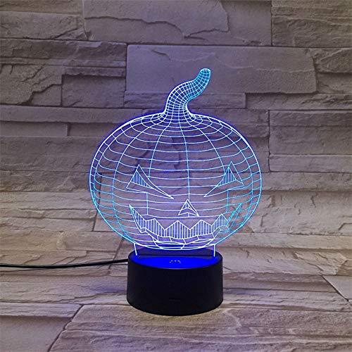 Nmdztz Nachtlicht Halloween-Kürbis Led 3D Nachtlicht 7 Farben Ändern Schlafzimmerlicht Led-Nachtlichter Acryl Usb 3D Led Lampe Atmosphäre Lampe