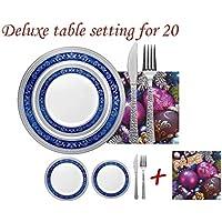 Decorline-Vajillas desechables Partido plato Platos de plástico blanco con borde azul/plata de